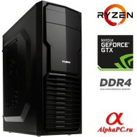 Компьютер AlphaPC AG-068791 AMD Ryzen 5 1600X 3.6 ГГц / AMD B350 / 64 Гб DDR4 2400 МГц / nVidia GeForce GTX 1080 Ti 11264 Мб / SSD 480 Гб / 3000 Гб / DVD-RW / 750 Вт / Mini-Tower / без ОС